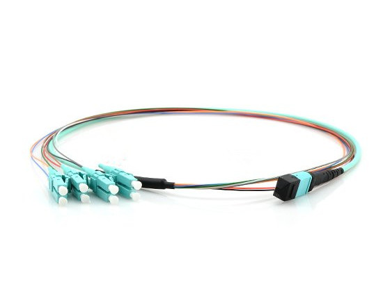 MTP/MPO-4LC Duplex 10G OM4 50/125 Multimode Fiber Optic Harness Fan-out/Breakout Cable, 8 Fiber, Polarity B, Female, Aqua, Bunch, 40GBASE-SR4 Interconnect Solution MTP/MPO Trunk Cable Fiber Optic Patch Cord,Fiber Optic Patch Cables