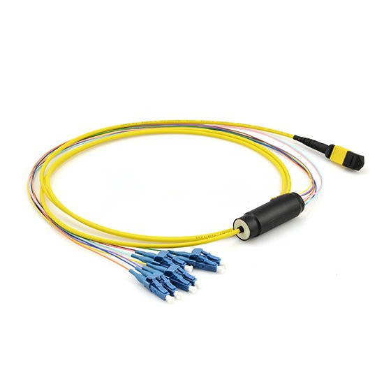 MTP/MPO-4LC Duplex 9/125 Single-mode Fiber Optic Harness Fan-out/Breakout Cable, 8 Fiber, Polarity B, Female, LSZH-Yellow, Bunch, 40G PLRL4 PSM Interconnect Solution MTP/MPO Trunk Cable Fiber Optic Patch Cord,Fiber Optic Patch Cables