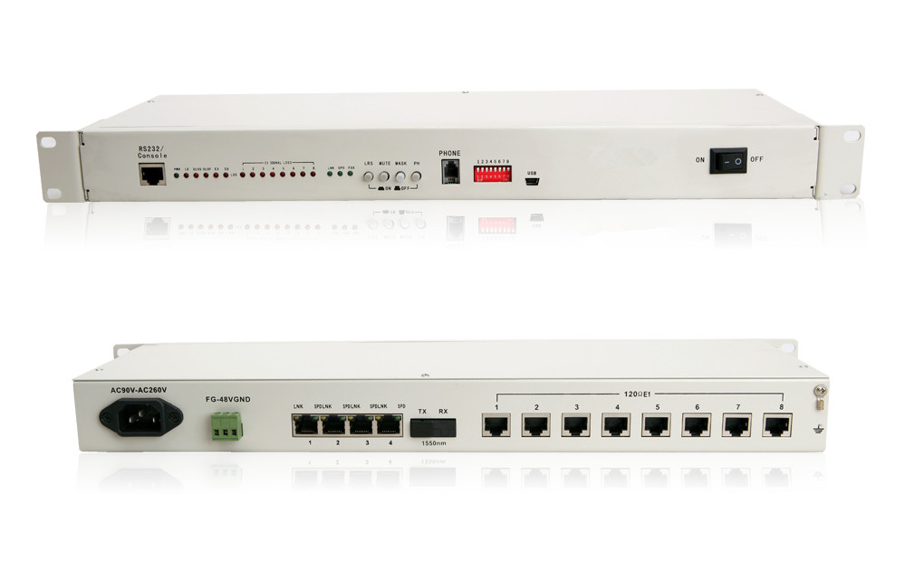 8E1+4*10/100/1000M PDH Fiber Optical Multiplexers Singlemode Dual Fiber 20KM 19 Inch Rack(with the orderwire phone)