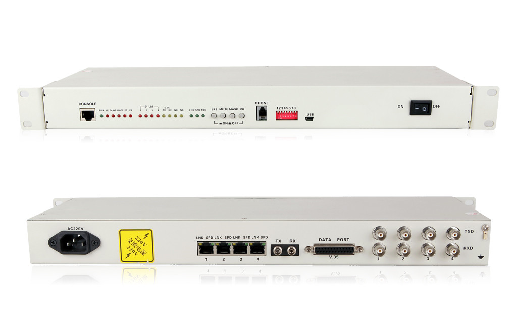 4E1+4*10/100M PDH Fiber Optical Multiplexers Singlemode Dual Fiber 20KM 19 Inch Rack(with the orderwire phone)