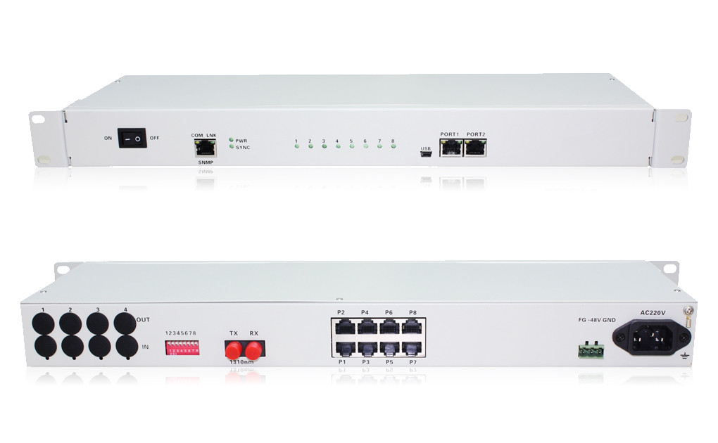 8FXO/FXS PCM Voice Multiplexer Over Optical Fiber