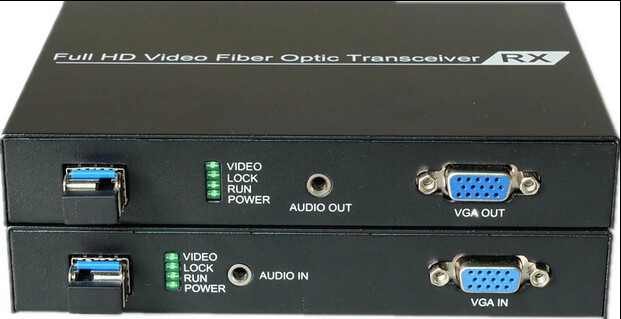 VGI over fiber optic video converter transmitter and receiver set